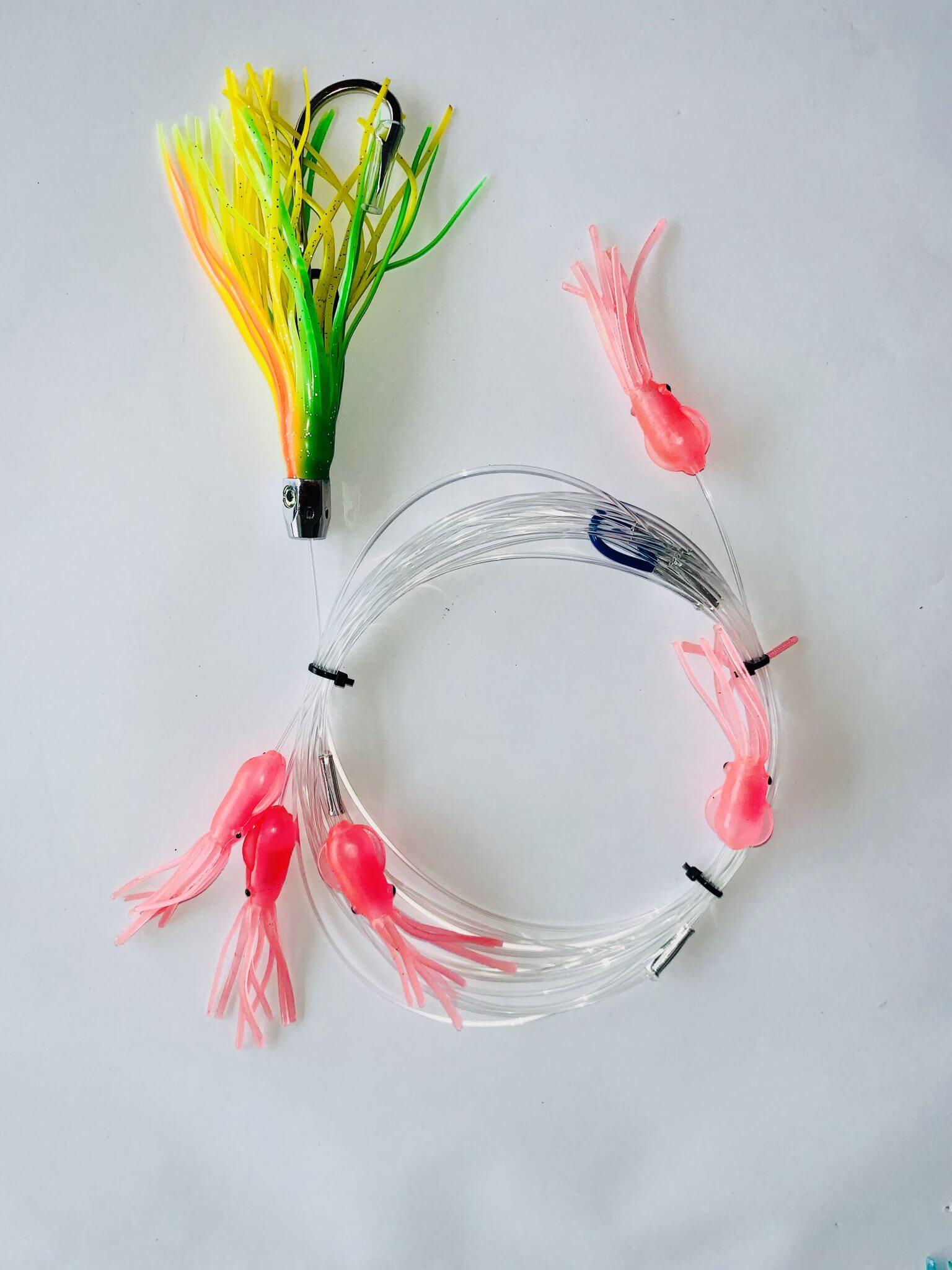 Skirted Feather Trolling Lure Mackerel Marlin Bass Rigs Hooks